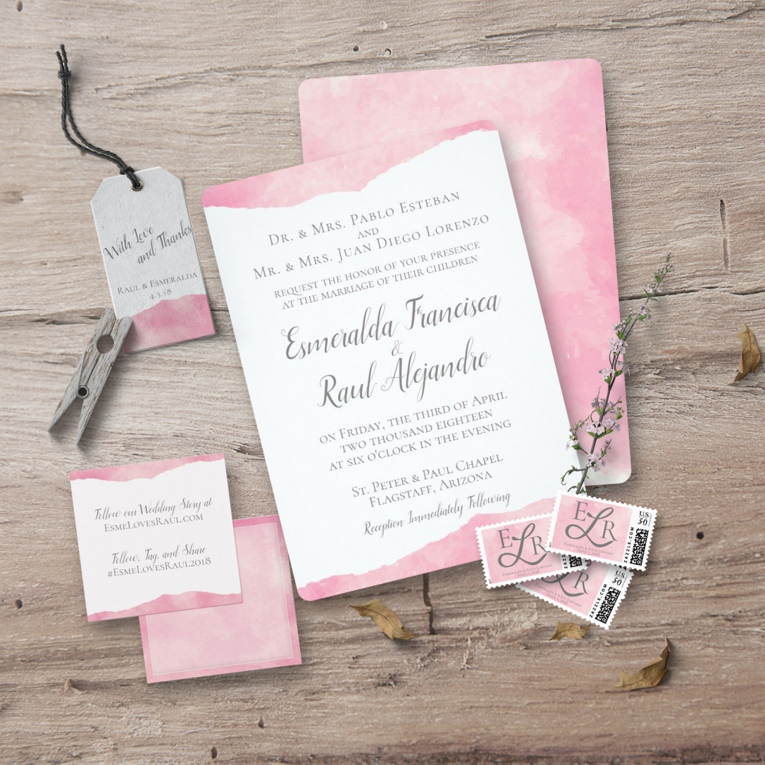 Pink Cotton Candy Watercolor Wedding Suite