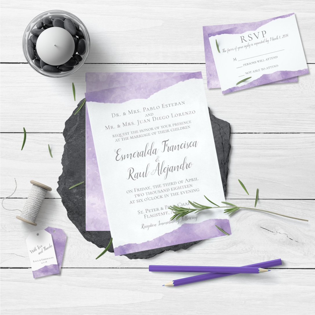 Lavender Watercolor Wedding Invitation Suite