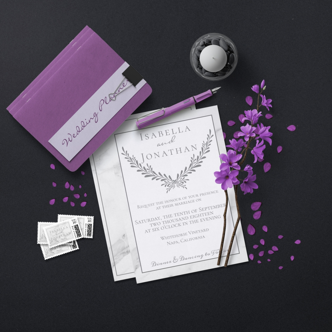 Elegant Marble Wedding Invitation Suite
