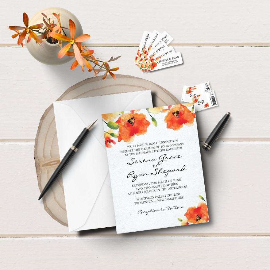 Simple Golden Poppy Wedding Suite