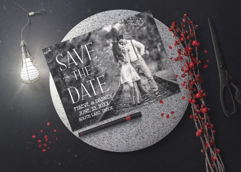 Classic Black and White Save the Date Cards
