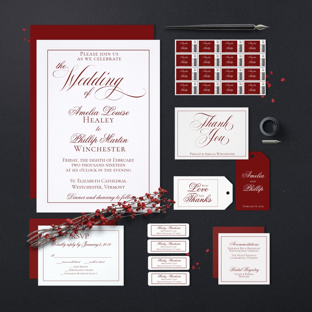 Elegant Red and White Wedding Invitation Suite