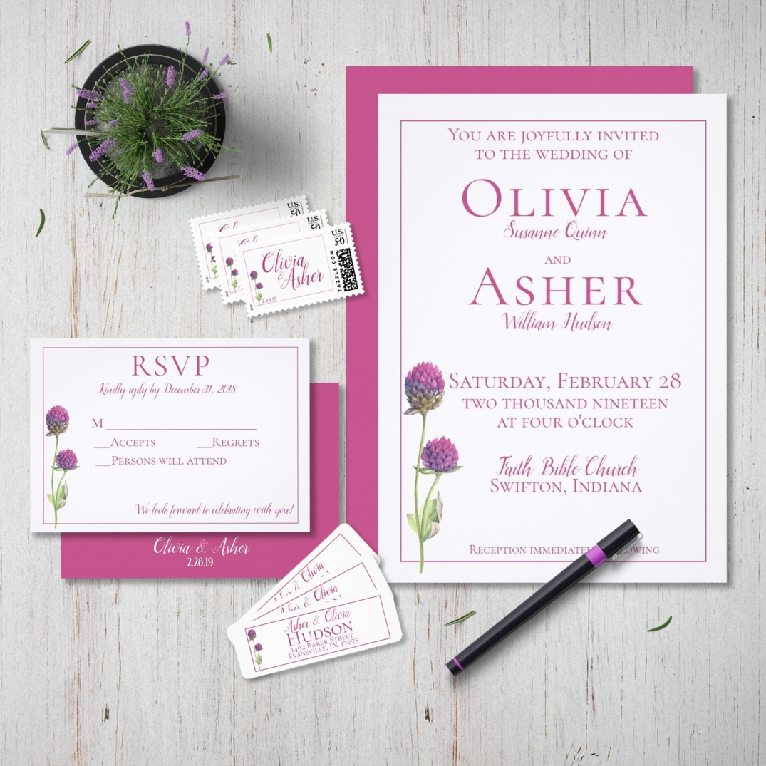 Watercolor Amaranth Thistle Wildflower Wedding