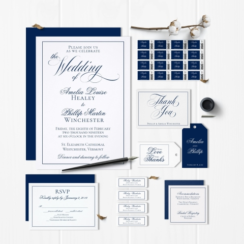 Elegant Navy Blue and White Wedding Suite
